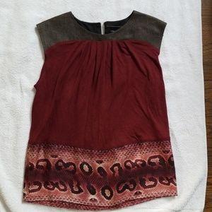 Burgundy silk animal print Longchamp blouse